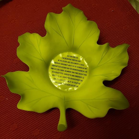 Vtg Candleholder Partylite Large Green Leaf NWOT